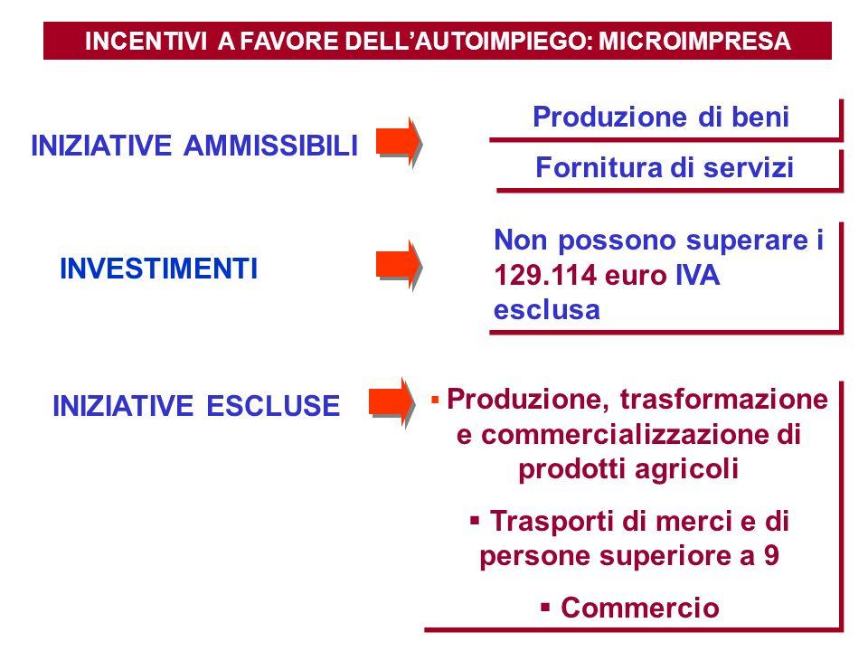 INCENTIVI A FAVORE DELLAUTOIMPIEGO: MICROIMPRESA Produzione di beni Fornitura di servizi INIZIATIVE ESCLUSE Produzione, trasformazione e commercializz