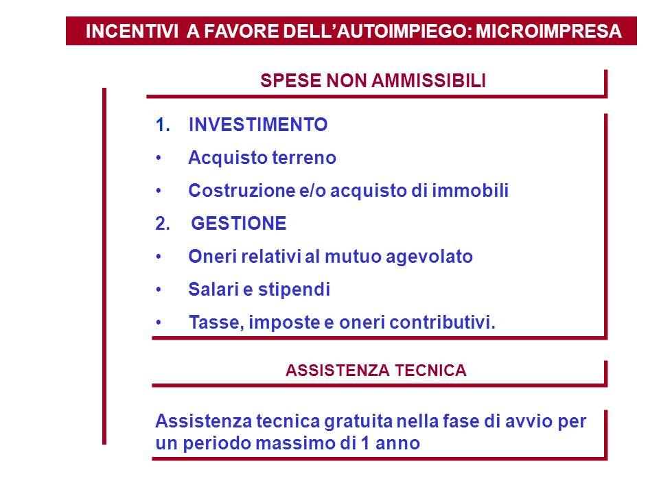 INCENTIVI A FAVORE DELLAUTOIMPIEGO: MICROIMPRESA SPESE NON AMMISSIBILI 1. INVESTIMENTO Acquisto terreno Costruzione e/o acquisto di immobili 2. GESTIO