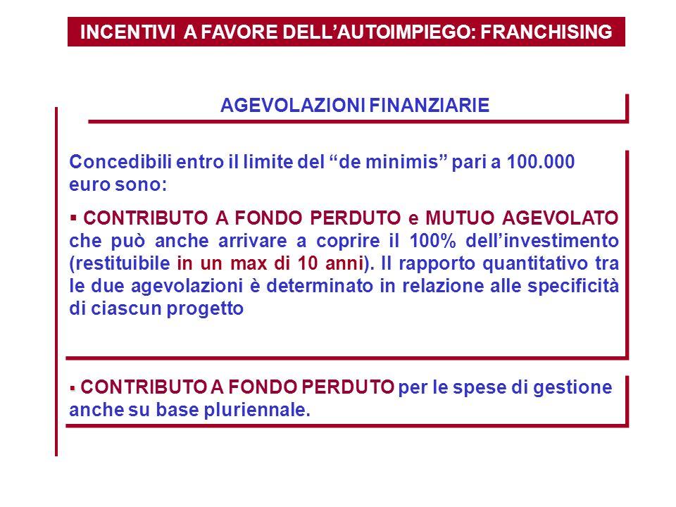 INCENTIVI A FAVORE DELLAUTOIMPIEGO: FRANCHISING AGEVOLAZIONI FINANZIARIE Concedibili entro il limite del de minimis pari a 100.000 euro sono: CONTRIBU