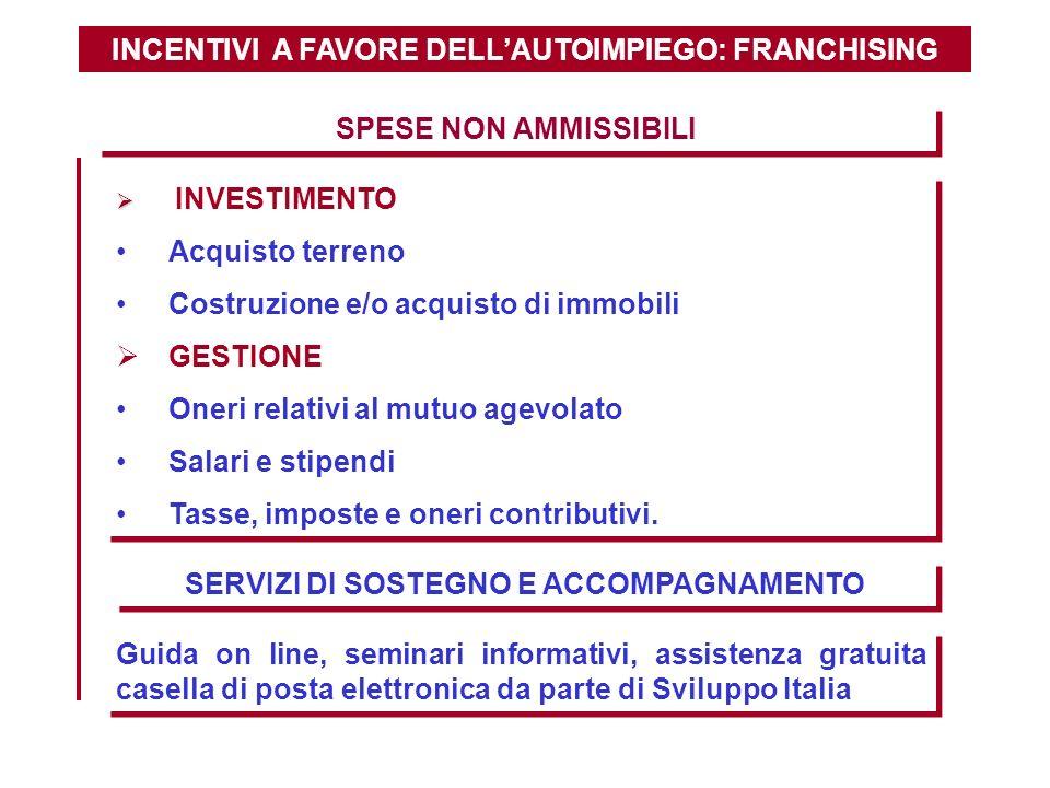 INCENTIVI A FAVORE DELLAUTOIMPIEGO: FRANCHISING SPESE NON AMMISSIBILI INVESTIMENTO Acquisto terreno Costruzione e/o acquisto di immobili GESTIONE Oner