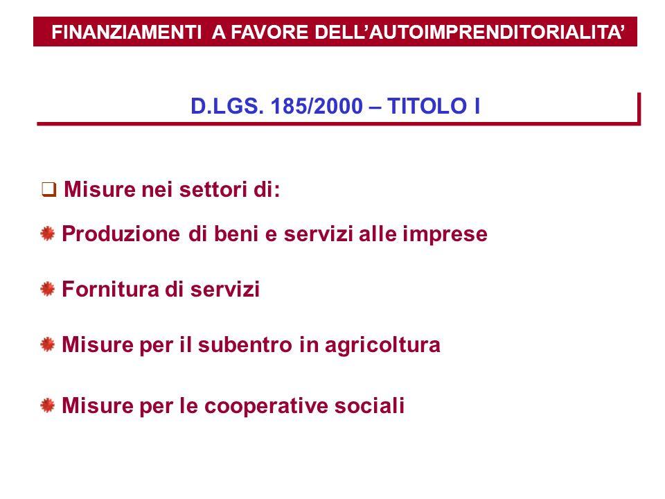 FINANZIAMENTI A FAVORE DELLAUTOIMPRENDITORIALITA D.LGS. 185/2000 – TITOLO I Fornitura di servizi Misure per il subentro in agricoltura Misure per le c