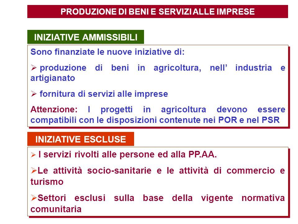 PRODUZIONE DI BENI E SERVIZI ALLE IMPRESE INIZIATIVE AMMISSIBILI Sono finanziate le nuove iniziative di: produzione di beni in agricoltura, nell indus