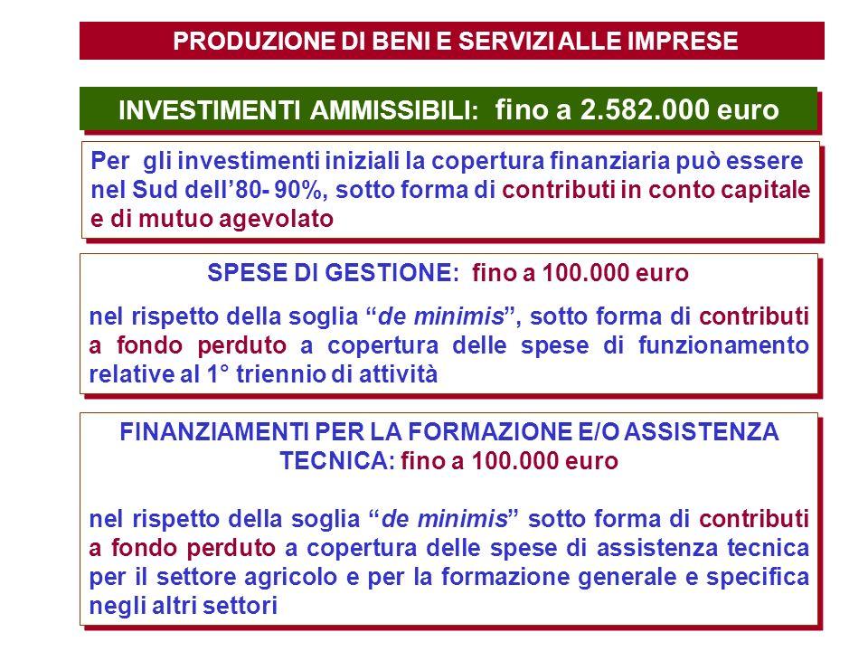 PRODUZIONE DI BENI E SERVIZI ALLE IMPRESE INVESTIMENTI AMMISSIBILI : fino a 2.582.000 euro Per gli investimenti iniziali la copertura finanziaria può