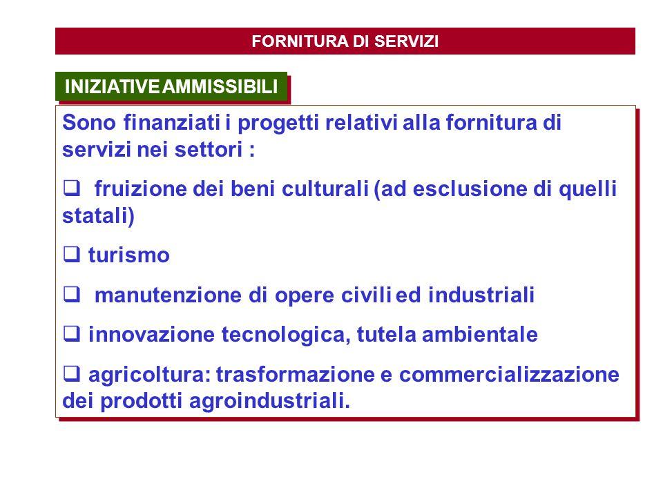 INIZIATIVE AMMISSIBILI FORNITURA DI SERVIZI Sono finanziati i progetti relativi alla fornitura di servizi nei settori : fruizione dei beni culturali (