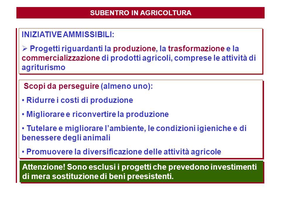 SUBENTRO IN AGRICOLTURA INIZIATIVE AMMISSIBILI: Progetti riguardanti la produzione, la trasformazione e la commercializzazione di prodotti agricoli, c