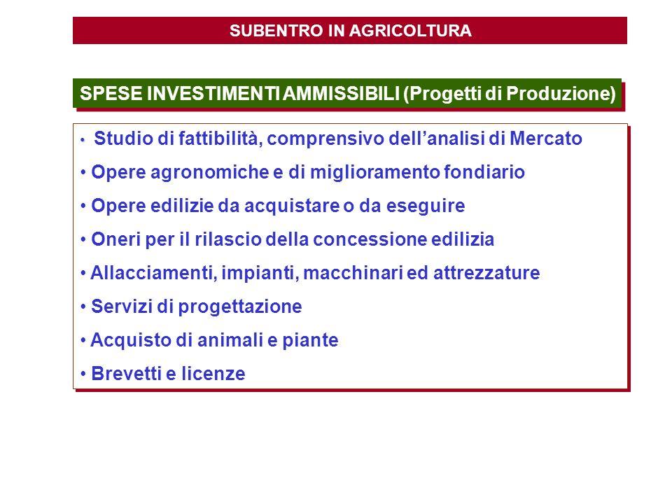 SUBENTRO IN AGRICOLTURA SPESE INVESTIMENTI AMMISSIBILI (Progetti di Produzione) Studio di fattibilità, comprensivo dellanalisi di Mercato Opere agrono