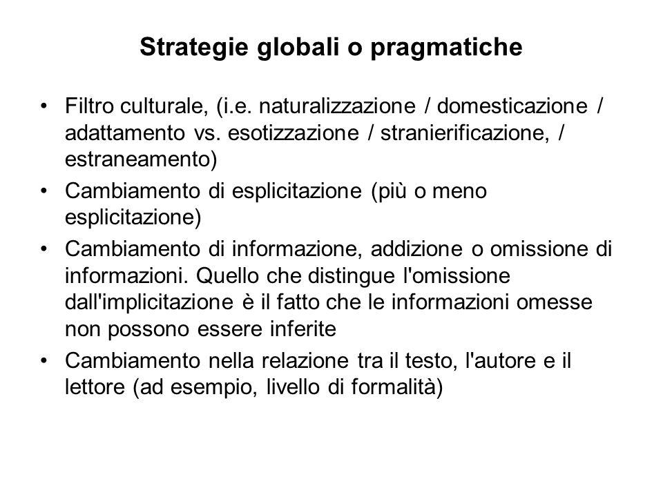 Strategie globali o pragmatiche Filtro culturale, (i.e.