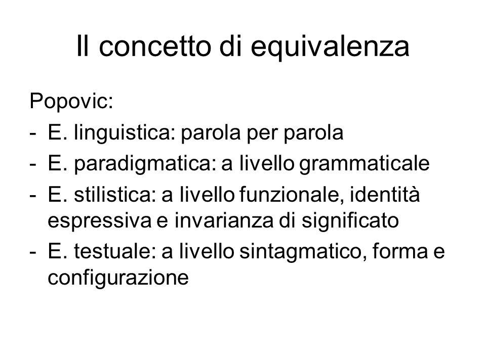 Il concetto di equivalenza Popovic: -E.linguistica: parola per parola -E.