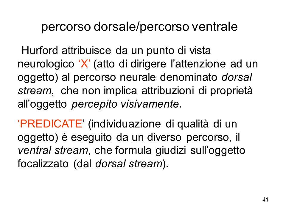 41 Hurford attribuisce da un punto di vista neurologico X (atto di dirigere lattenzione ad un oggetto) al percorso neurale denominato dorsal stream, c