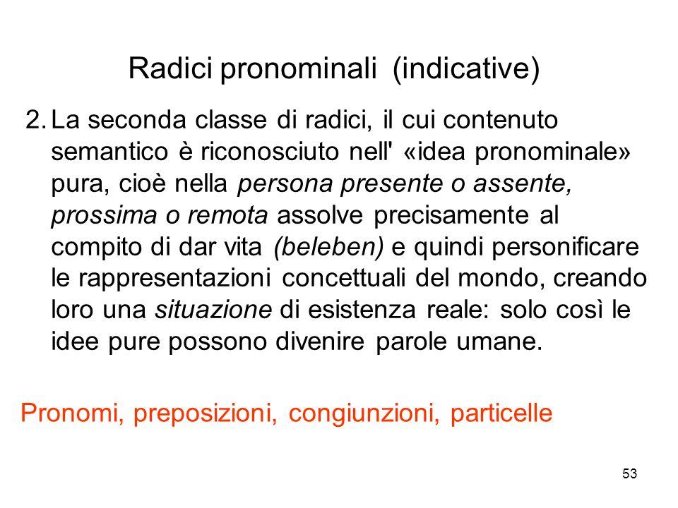 53 2.La seconda classe di radici, il cui contenuto semantico è riconosciuto nell' «idea pronominale» pura, cioè nella persona presente o assente, pros