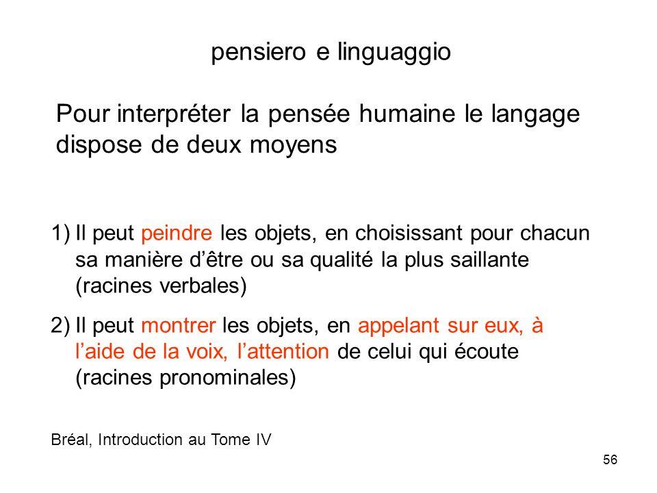 56 pensiero e linguaggio Pour interpréter la pensée humaine le langage dispose de deux moyens 1)Il peut peindre les objets, en choisissant pour chacun