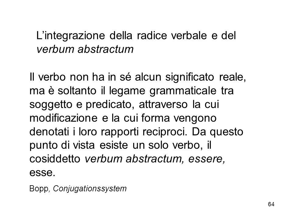 64 Lintegrazione della radice verbale e del verbum abstractum Il verbo non ha in sé alcun significato reale, ma è soltanto il legame grammaticale tra