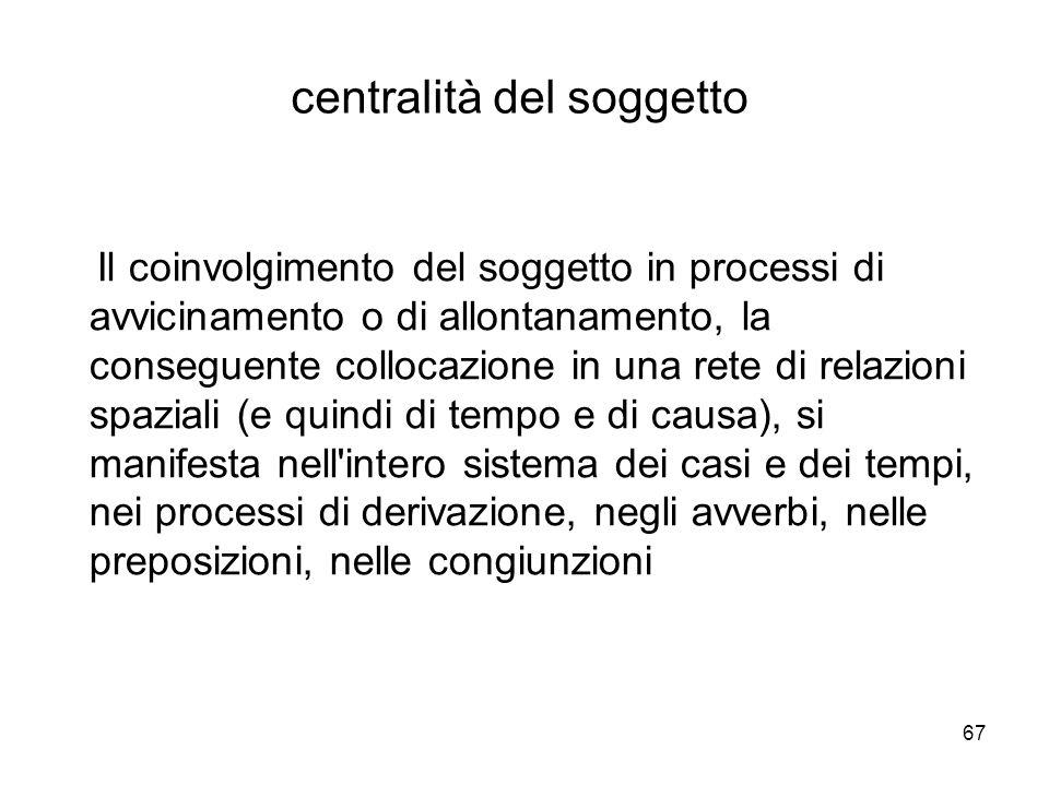 67 centralità del soggetto Il coinvolgimento del soggetto in processi di avvicinamento o di allontanamento, la conseguente collocazione in una rete di