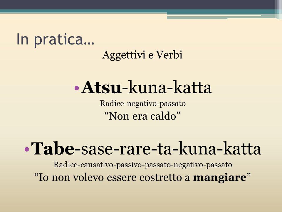 In pratica… Aggettivi e Verbi Atsu-kuna-katta Radice-negativo-passato Non era caldo Tabe-sase-rare-ta-kuna-katta Radice-causativo-passivo-passato-nega