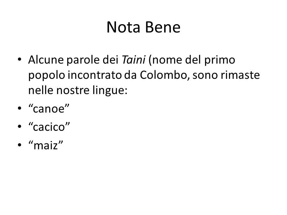 Nota Bene Alcune parole dei Taini (nome del primo popolo incontrato da Colombo, sono rimaste nelle nostre lingue: canoe cacico maiz