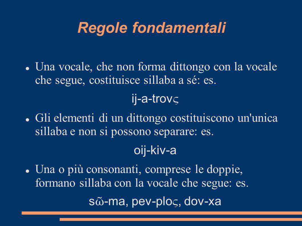 Regole fondamentali Una vocale, che non forma dittongo con la vocale che segue, costituisce sillaba a sé: es. ij-a-trov ς Gli elementi di un dittongo
