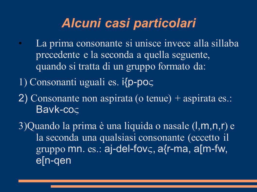 Alcuni casi particolari La prima consonante si unisce invece alla sillaba precedente e la seconda a quella seguente, quando si tratta di un gruppo formato da: 1) Consonanti uguali es.