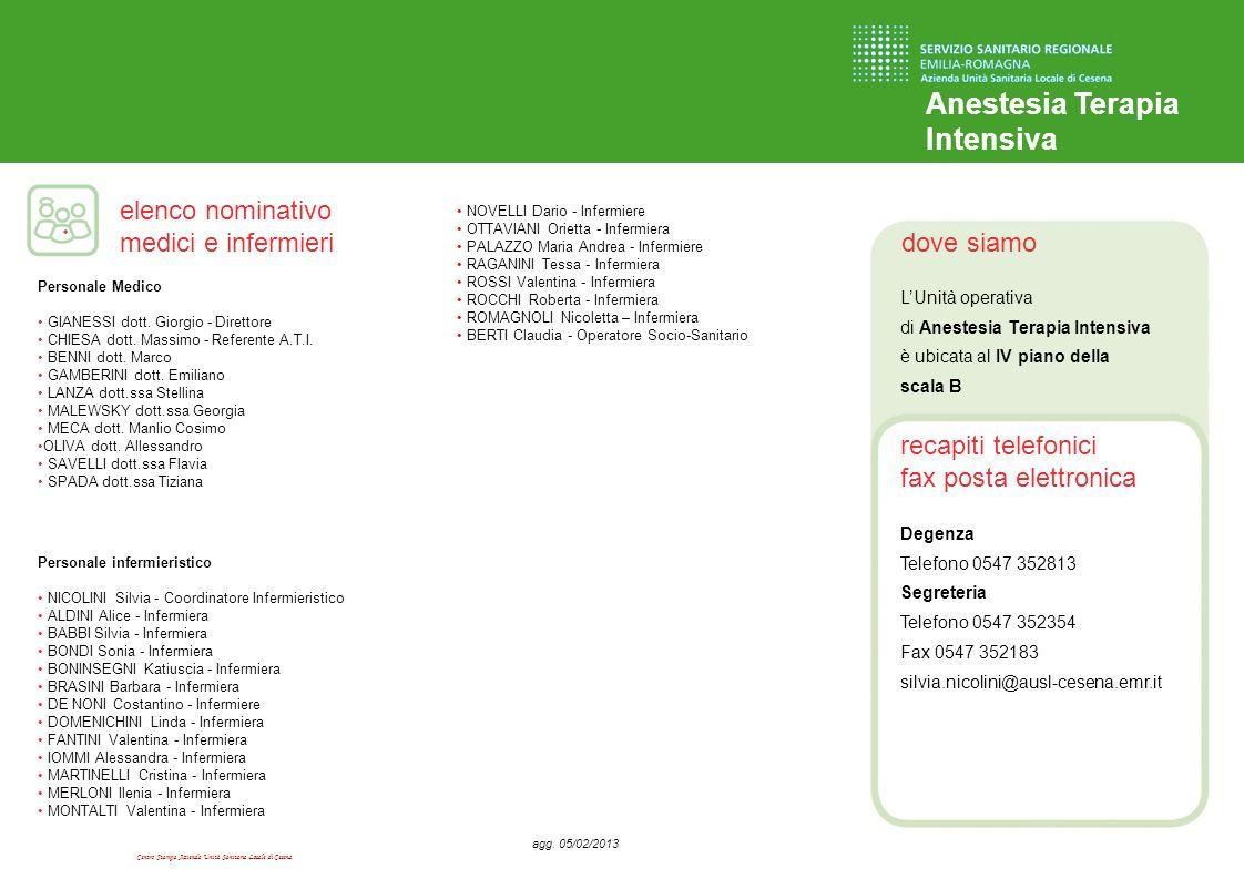 Centro Stampa Azienda Unità Sanitaria Locale di Cesena dove siamo recapiti telefonici fax posta elettronica elenco nominativo medici e infermieri Anes