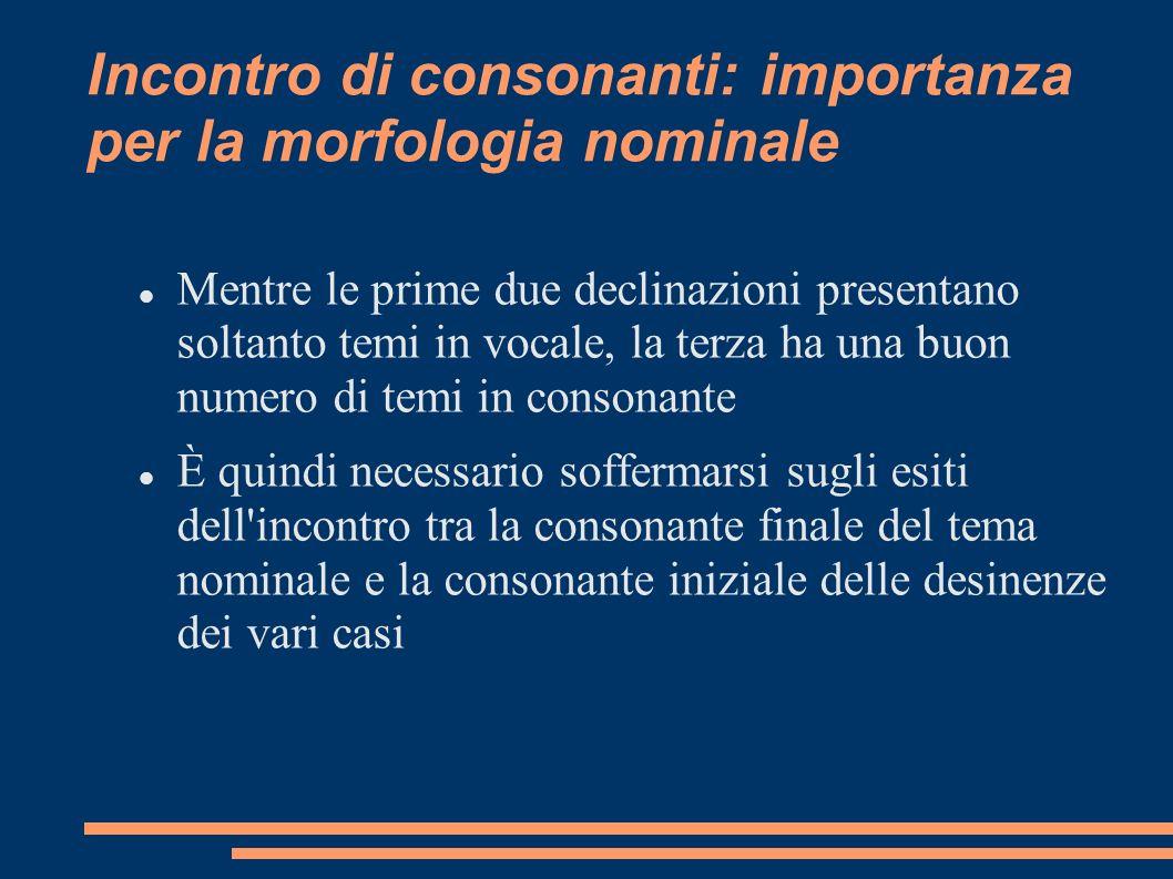 Incontro di consonanti: importanza per la morfologia nominale Mentre le prime due declinazioni presentano soltanto temi in vocale, la terza ha una buo