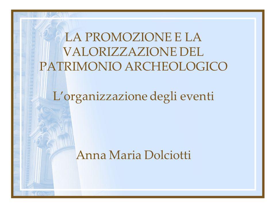 LA PROMOZIONE E LA VALORIZZAZIONE DEL PATRIMONIO ARCHEOLOGICO Lorganizzazione degli eventi Anna Maria Dolciotti