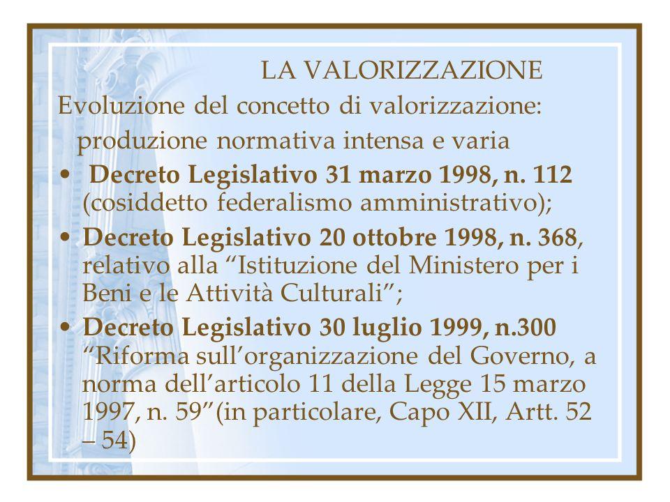 LA VALORIZZAZIONE Evoluzione del concetto di valorizzazione: produzione normativa intensa e varia Decreto Legislativo 31 marzo 1998, n. 112 (cosiddett