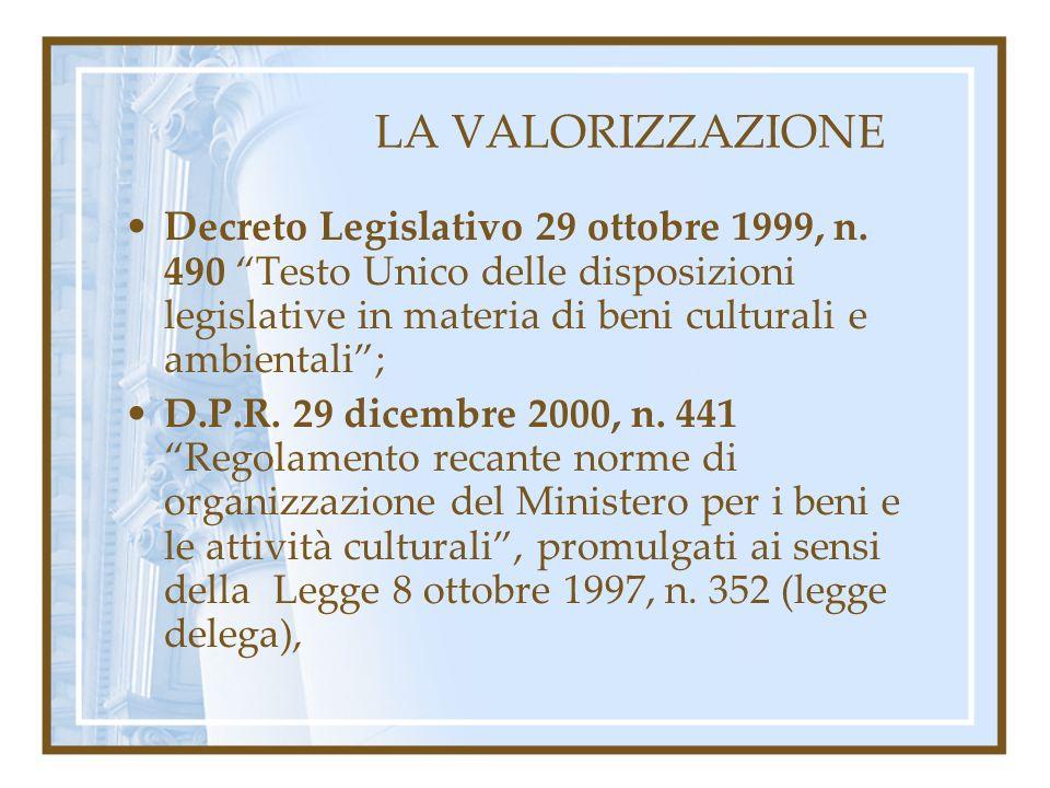 LA VALORIZZAZIONE Decreto Legislativo 29 ottobre 1999, n. 490 Testo Unico delle disposizioni legislative in materia di beni culturali e ambientali; D.