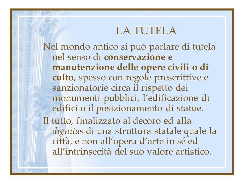 LA TUTELA Con il Pontificato di Urbano VIII, è Lorenzo Bernini a succedere a Raffaello e Michelangelo nel ruolo di Soprintendente alle antichità di Roma.