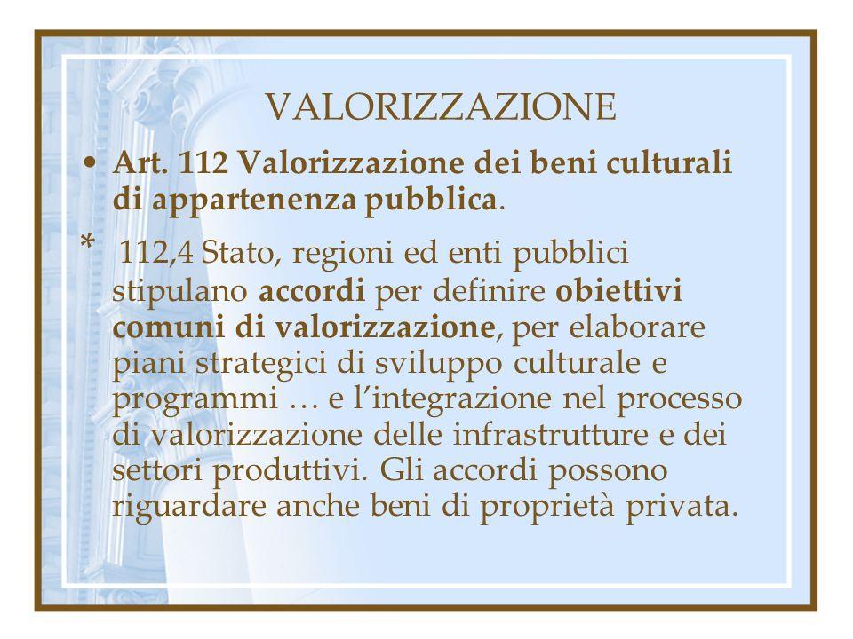VALORIZZAZIONE Art. 112 Valorizzazione dei beni culturali di appartenenza pubblica. * 112,4 Stato, regioni ed enti pubblici stipulano accordi per defi