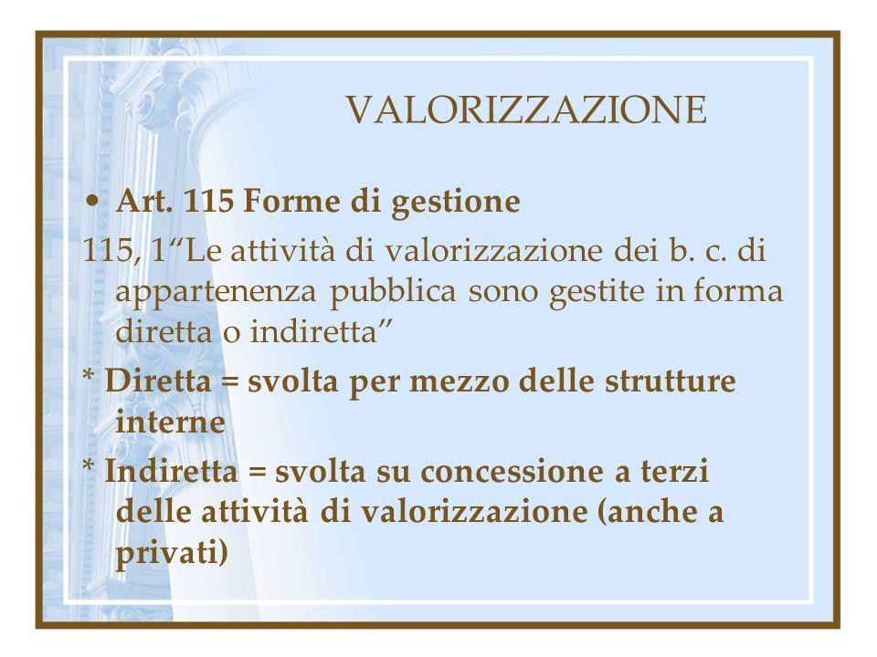 VALORIZZAZIONE Art. 115 Forme di gestione 115, 1Le attività di valorizzazione dei b. c. di appartenenza pubblica sono gestite in forma diretta o indir