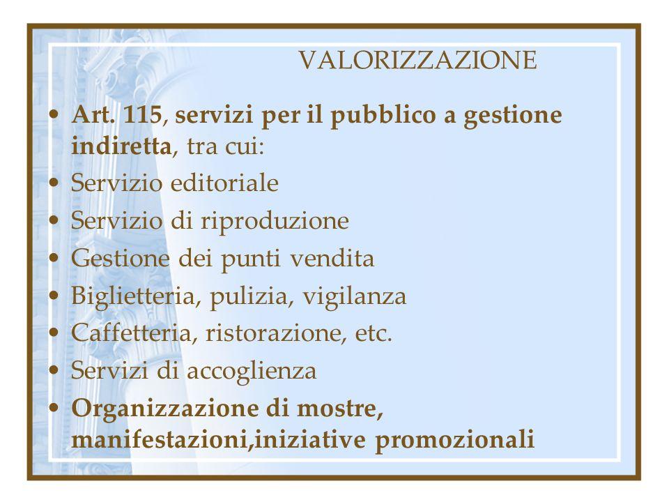 VALORIZZAZIONE Art. 115, servizi per il pubblico a gestione indiretta, tra cui: Servizio editoriale Servizio di riproduzione Gestione dei punti vendit