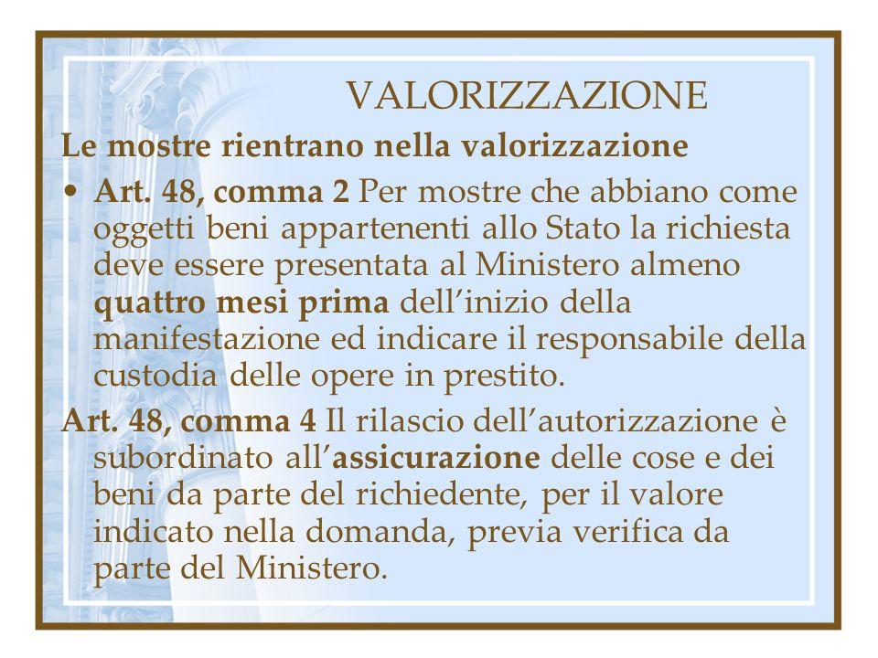 VALORIZZAZIONE Le mostre rientrano nella valorizzazione Art. 48, comma 2 Per mostre che abbiano come oggetti beni appartenenti allo Stato la richiesta