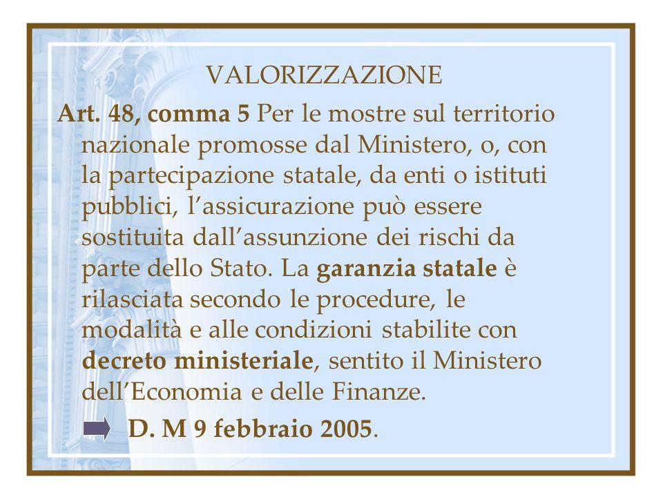 VALORIZZAZIONE Art. 48, comma 5 Per le mostre sul territorio nazionale promosse dal Ministero, o, con la partecipazione statale, da enti o istituti pu