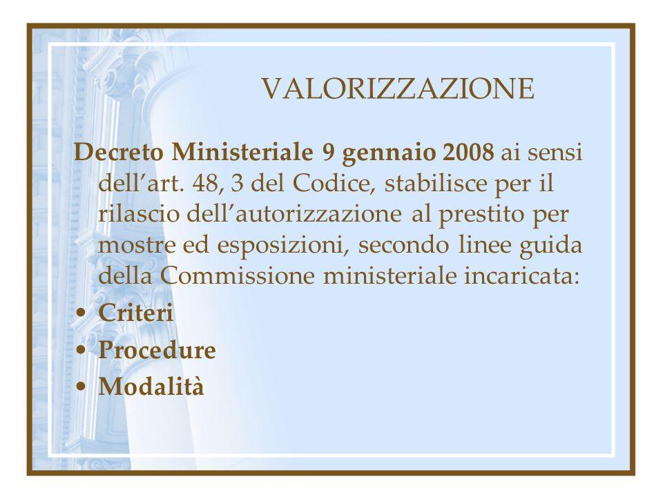 VALORIZZAZIONE Decreto Ministeriale 9 gennaio 2008 ai sensi dellart. 48, 3 del Codice, stabilisce per il rilascio dellautorizzazione al prestito per m