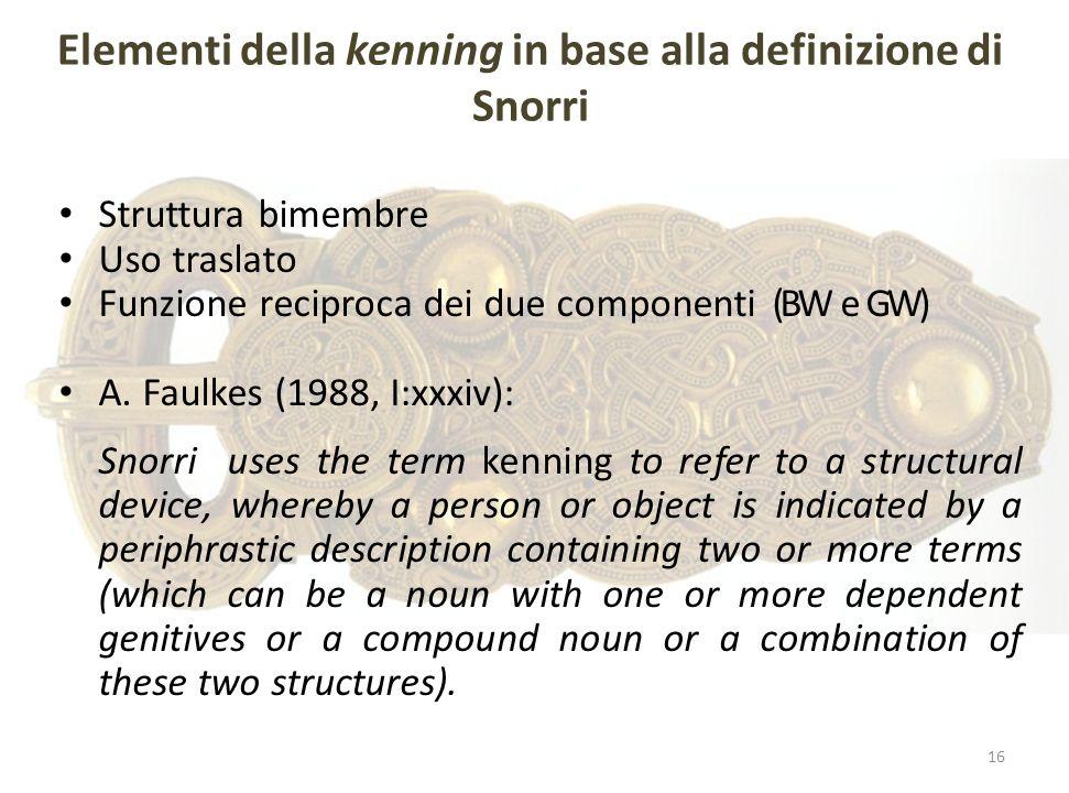 Elementi della kenning in base alla definizione di Snorri Struttura bimembre Uso traslato Funzione reciproca dei due componenti (BW e GW) A. Faulkes (
