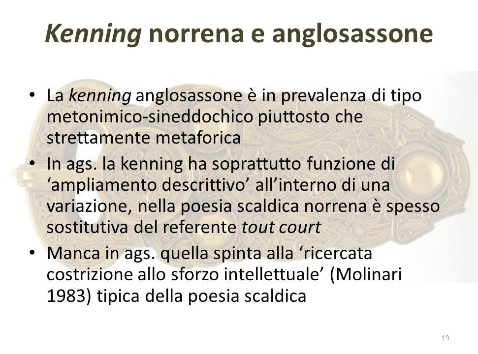 Kenning norrena e anglosassone La kenning anglosassone è in prevalenza di tipo metonimico-sineddochico piuttosto che strettamente metaforica In ags. l