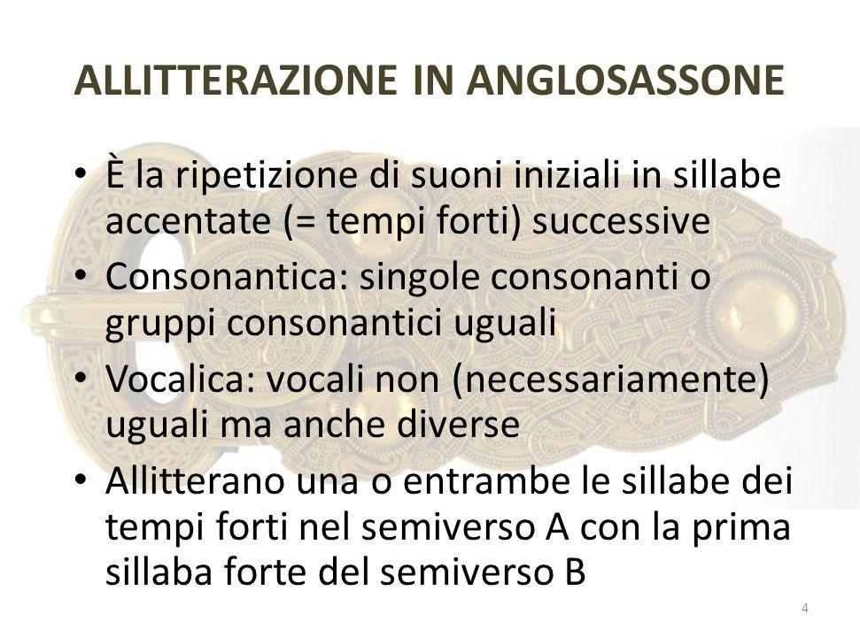 ALLITTERAZIONE IN ANGLOSASSONE È la ripetizione di suoni iniziali in sillabe accentate (= tempi forti) successive Consonantica: singole consonanti o g