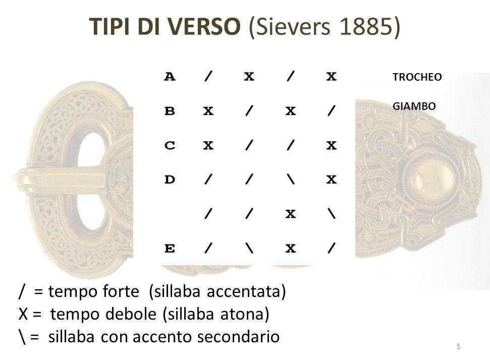 TIPI DI VERSO (Sievers 1885) / = tempo forte (sillaba accentata) X = tempo debole (sillaba atona) \ = sillaba con accento secondario TROCHEO GIAMBO 5
