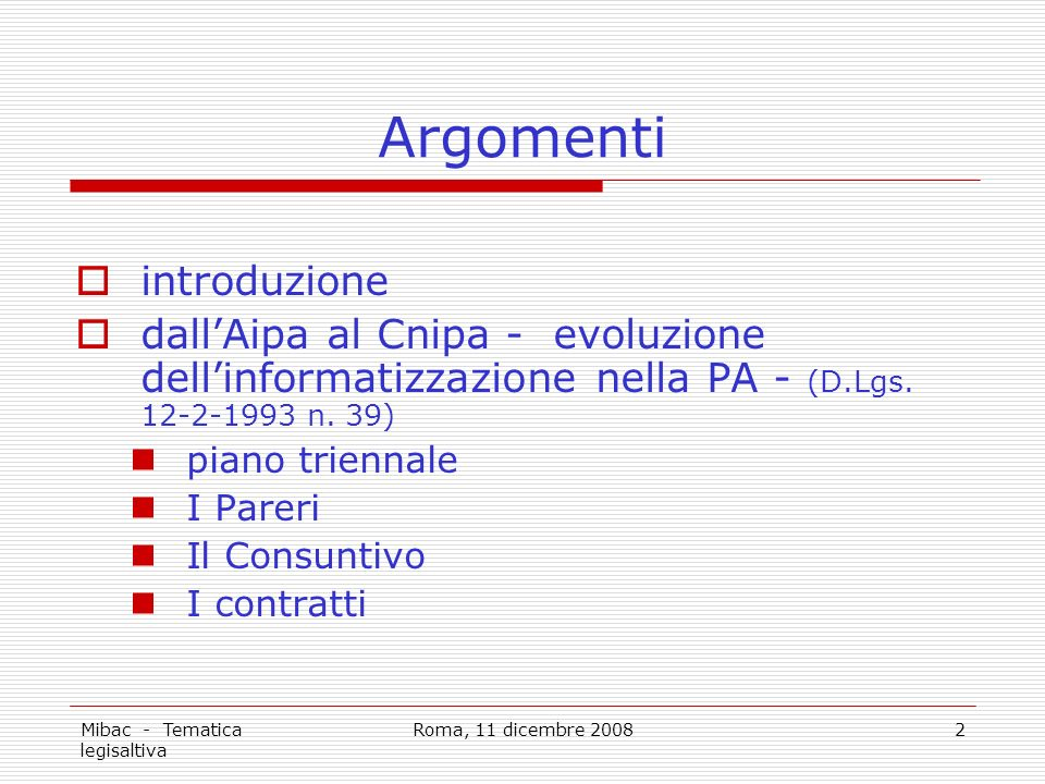 Mibac - Tematica legisaltiva Roma, 11 dicembre 20082 Argomenti introduzione dallAipa al Cnipa - evoluzione dellinformatizzazione nella PA - (D.Lgs.