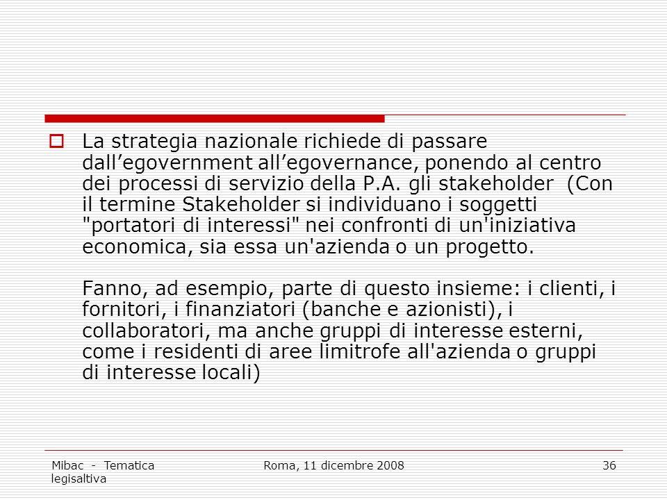 Mibac - Tematica legisaltiva Roma, 11 dicembre 200836 La strategia nazionale richiede di passare dallegovernment allegovernance, ponendo al centro dei processi di servizio della P.A.