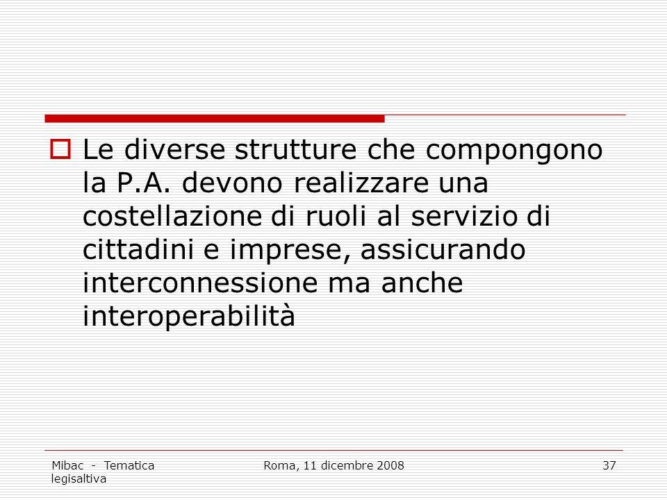 Mibac - Tematica legisaltiva Roma, 11 dicembre 200837 Le diverse strutture che compongono la P.A.