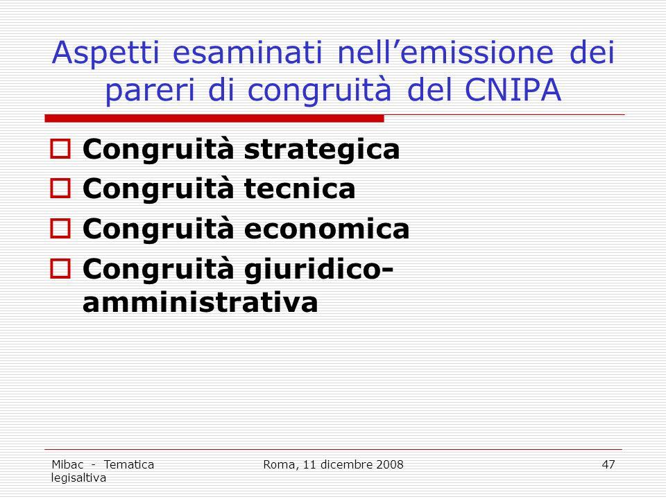 Mibac - Tematica legisaltiva Roma, 11 dicembre 200847 Aspetti esaminati nellemissione dei pareri di congruità del CNIPA Congruità strategica Congruità tecnica Congruità economica Congruità giuridico- amministrativa