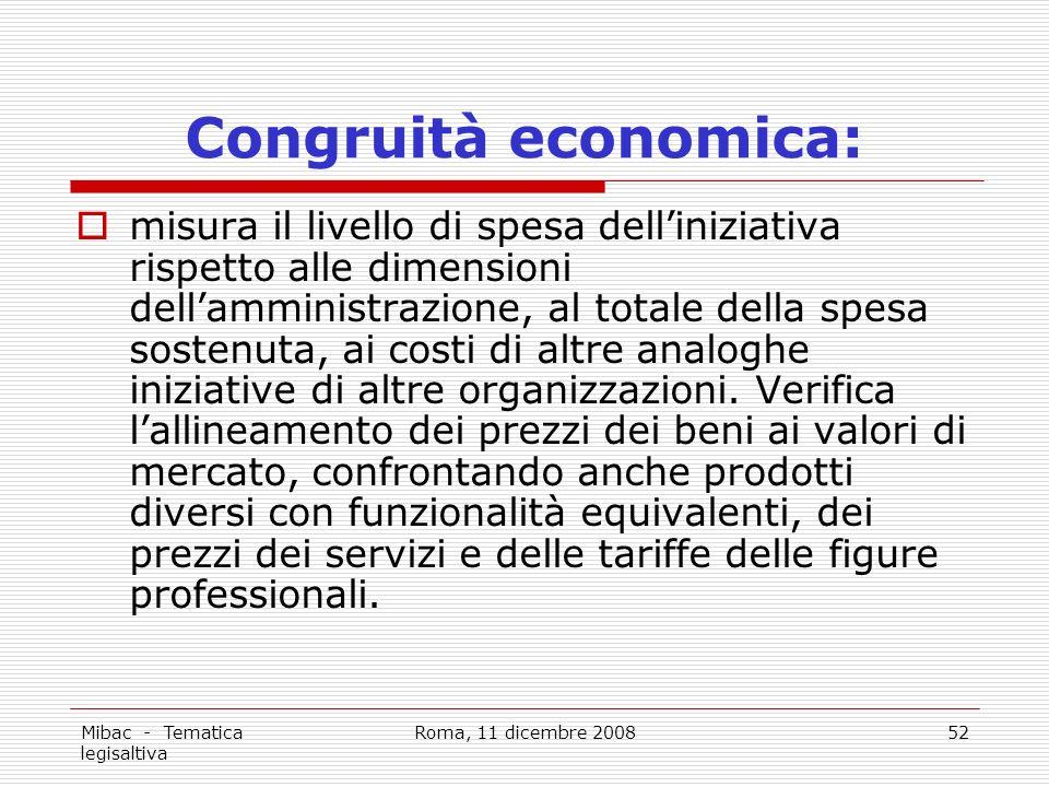 Mibac - Tematica legisaltiva Roma, 11 dicembre 200852 Congruità economica: misura il livello di spesa delliniziativa rispetto alle dimensioni dellamministrazione, al totale della spesa sostenuta, ai costi di altre analoghe iniziative di altre organizzazioni.
