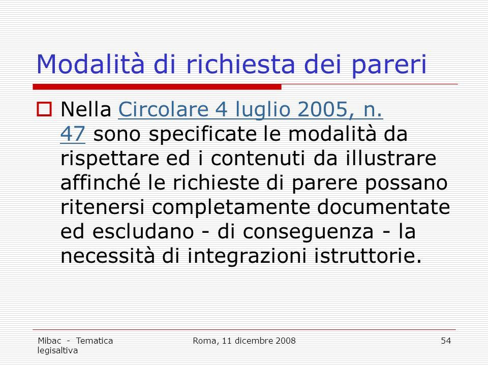 Mibac - Tematica legisaltiva Roma, 11 dicembre 200854 Modalità di richiesta dei pareri Nella Circolare 4 luglio 2005, n.