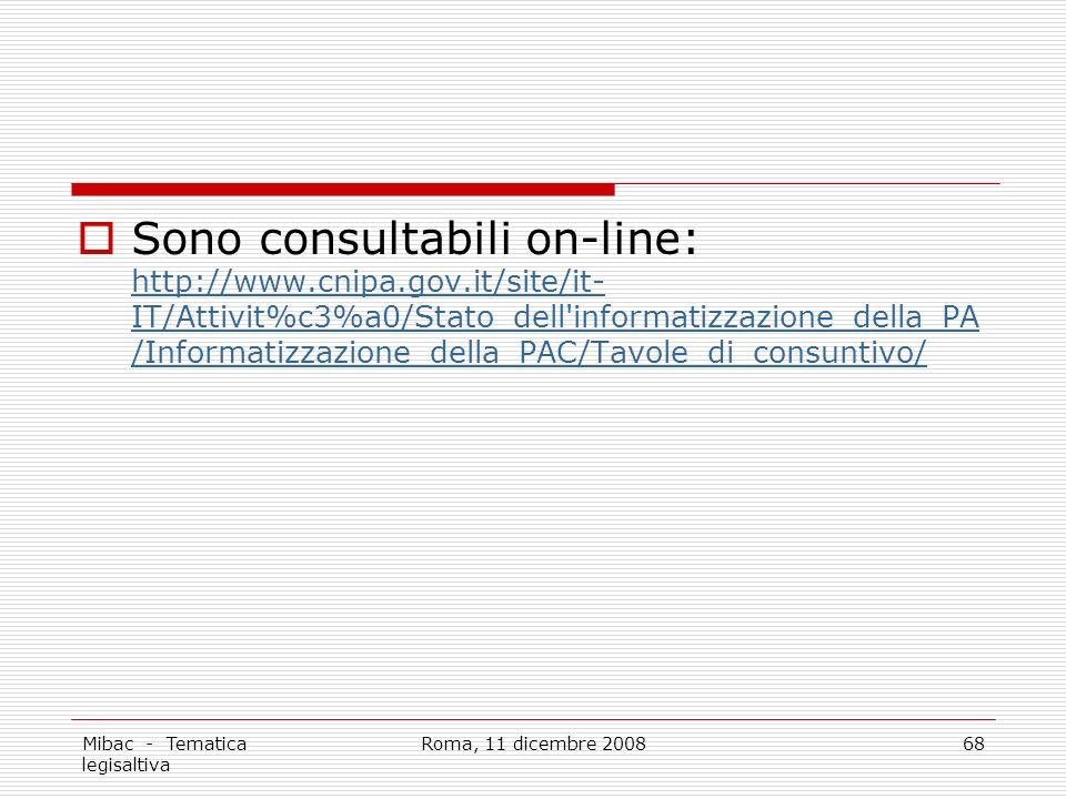 Mibac - Tematica legisaltiva Roma, 11 dicembre 200868 Sono consultabili on-line: http://www.cnipa.gov.it/site/it- IT/Attivit%c3%a0/Stato_dell informatizzazione_della_PA /Informatizzazione_della_PAC/Tavole_di_consuntivo/ http://www.cnipa.gov.it/site/it- IT/Attivit%c3%a0/Stato_dell informatizzazione_della_PA /Informatizzazione_della_PAC/Tavole_di_consuntivo/
