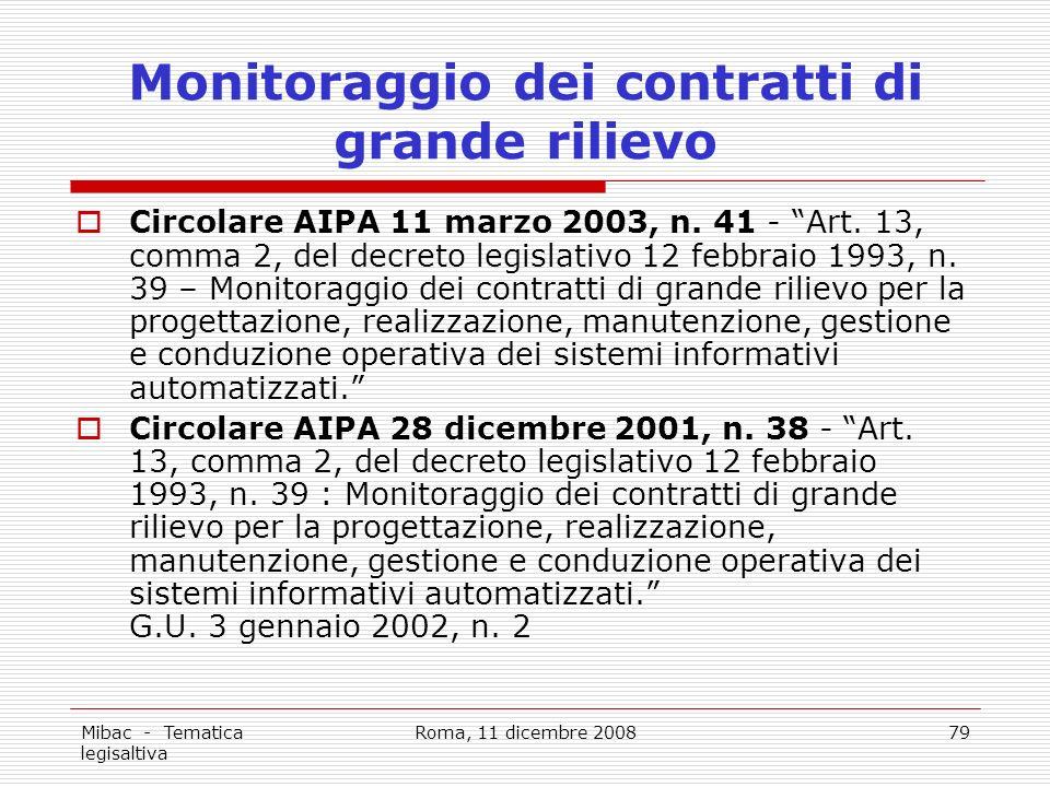 Mibac - Tematica legisaltiva Roma, 11 dicembre 200879 Monitoraggio dei contratti di grande rilievo Circolare AIPA 11 marzo 2003, n.