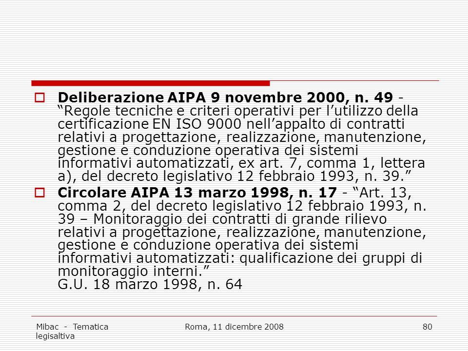 Mibac - Tematica legisaltiva Roma, 11 dicembre 200880 Deliberazione AIPA 9 novembre 2000, n.