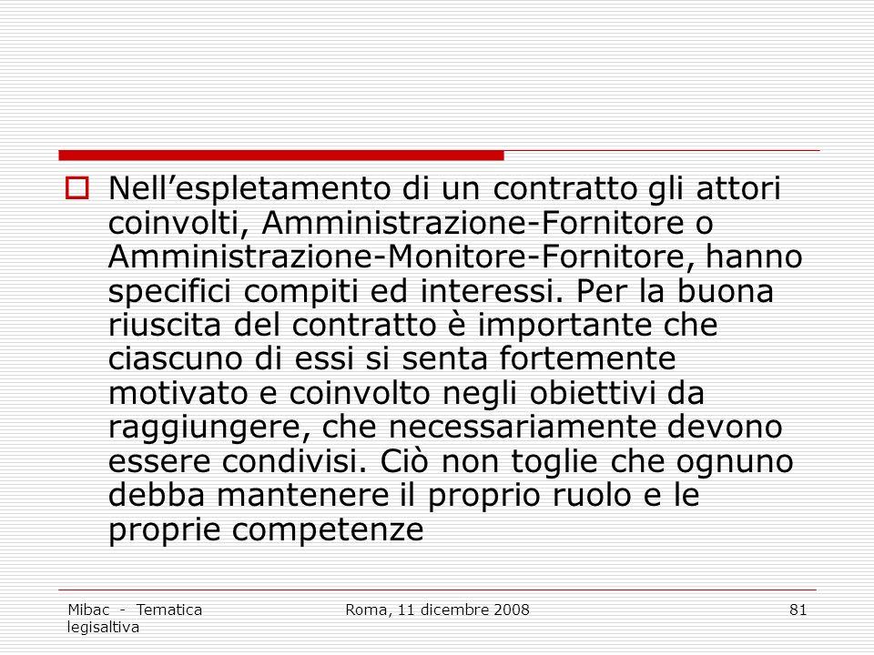 Mibac - Tematica legisaltiva Roma, 11 dicembre 200881 Nellespletamento di un contratto gli attori coinvolti, Amministrazione-Fornitore o Amministrazione-Monitore-Fornitore, hanno specifici compiti ed interessi.