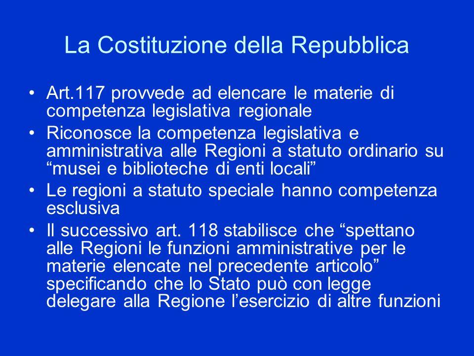 La Costituzione della Repubblica Art.117 provvede ad elencare le materie di competenza legislativa regionale Riconosce la competenza legislativa e amm