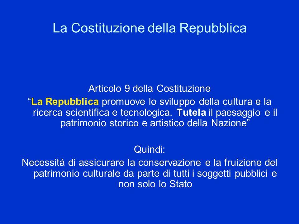 La Costituzione della Repubblica Articolo 9 della Costituzione La Repubblica promuove lo sviluppo della cultura e la ricerca scientifica e tecnologica