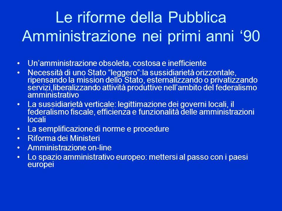 Le riforme della Pubblica Amministrazione nei primi anni 90 Unamministrazione obsoleta, costosa e inefficiente Necessità di uno Stato leggero:la sussi